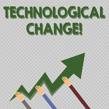 Conceptual hand writing showing Technological Change. Concept meaning increase in the efficiency of a product or process Hands Holding Zigzag Lightning Arrow Pointing and Going Up