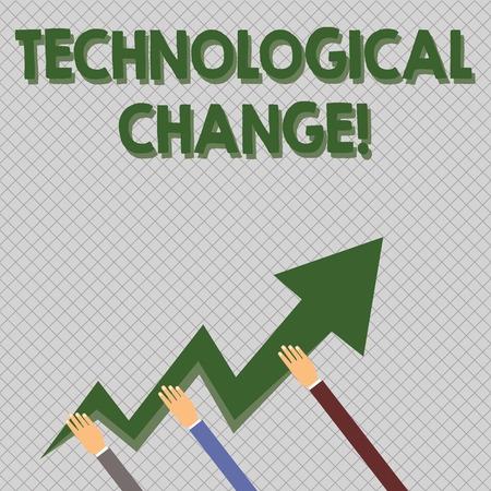 Escritura a mano conceptual que muestra el cambio tecnológico. Concepto Significado aumento de la eficiencia de un producto o proceso Manos sosteniendo la flecha del relámpago en zigzag apuntando y subiendo Foto de archivo