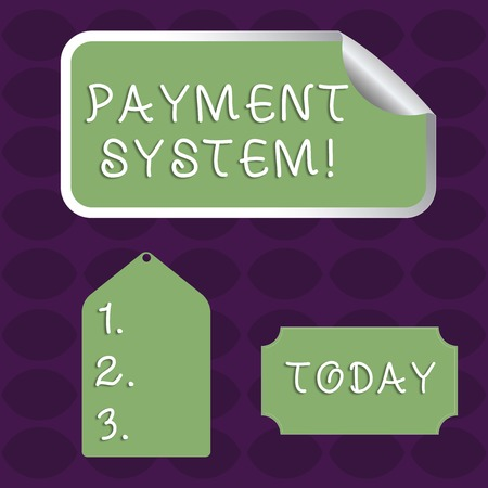 Handwriting text Payment System. Conceptual photo a system used to pay or settle financial transactions Blank Color Label, Self Adhesive Sticker with Border, Bended Corner and Tag Stok Fotoğraf
