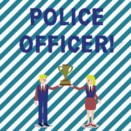 Handwriting text writing Police Officer. Conceptual photo a demonstrating who is an officer of the law enforcement team Man and Woman in Business Suit Holding Together the Championship Trophy Cup