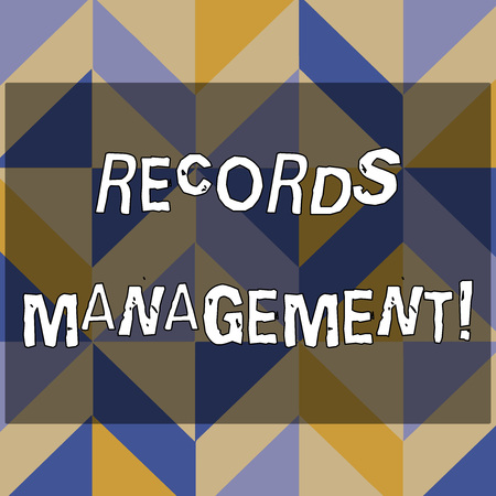 Text sign showing Records Management. Business photo text administration of records and documented information 3D Formation of Geometric Shapes Creating Cubes and Blocks with Perspective Stock Photo