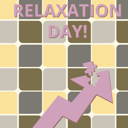 Word writing text Relaxation Day. Business photo showcasing pleasant activity that makes you become calm and less worried Colorful Arrow Pointing Upward with Detached Part Like Jigsaw Puzzle Piece Stockfoto