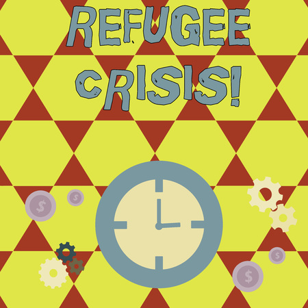 Conceptual hand writing showing Refugee Crisis. Concept meaning refer to movements of large groups of displaced showing Time Management Icons of Clock, Cog Wheel Gears and Dollar