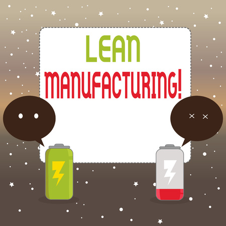 Handwriting text writing Lean Manufacturing. Conceptual photo focus on minimizing waste within analysisufacturing systems Fully Charged and Discharged Battery with Two Colorful Emoji Speech Bubble