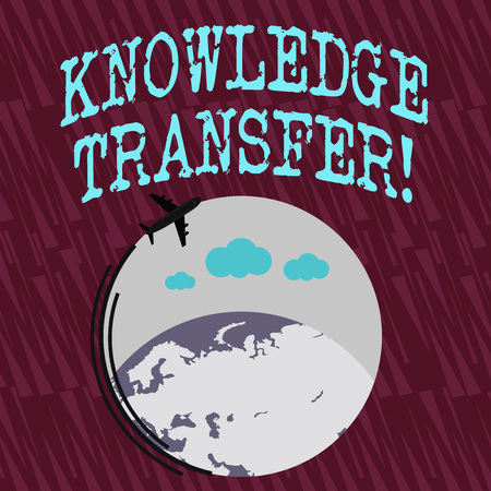 Text sign showing Knowledge Transfer. Business photo text sharing or disseminating of knowledge and experience Airplane with Moving Icon Flying Around Colorful Globe and Blank Text Space