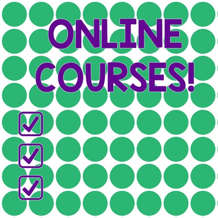 Handwriting text writing Online Courses. Conceptual photo courses deliver a series of lessons to a web browser Seamless Green Circles Arranged in Rows and Columns on White Flat Pattern