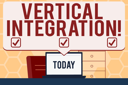 Text sign showing Vertical Integration. Business photo text Merger of companies at different stages of production Blank Huge Speech Bubble Pointing to White Laptop Screen in Workspace Idea