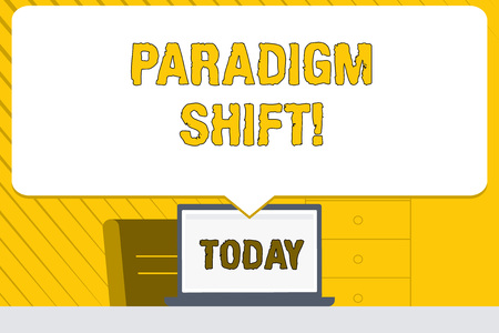 Word writing text Paradigm Shift. Business photo showcasing fundamental change in approach or underlying assumptions Blank Huge Speech Bubble Pointing to White Laptop Screen in Workspace Idea Stock Photo