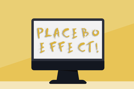 Word writing text Placebo Effect. Business photo showcasing a beneficial effect produced by a placebo drug or treatment Blank Space Desktop Computer Colorful Monitor Screen Freestanding on Table