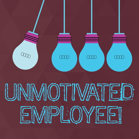 Conceptual hand writing showing Unmotivated Employee. Concept meaning very low self esteem and no interest to work hard Color Pendant Bulb Hanging with One Different Shade Lightbulb