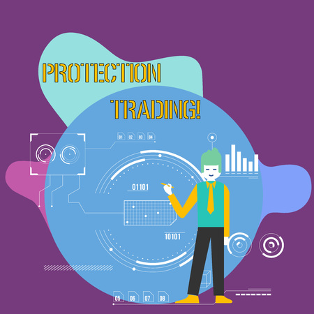 Conceptual hand writing showing Protection Trading. Concept meaning deliberate attempt to limit imports or promote exports Man Holding Pen Pointing to Chart Diagram SEO Process Icons