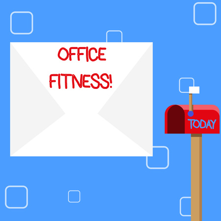 Handwriting text Office Fitness. Conceptual photo Encouraging fitness and balance lifestyle in the workplace Blank Big White Envelope and Open Red Mailbox with Small Flag Up Signalling 写真素材