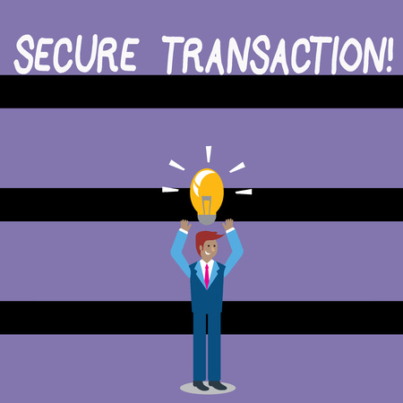 Writing note showing Secure Transaction. Business concept for a transaction intended to create a security interest Businessman Raising Arms Upward with Lighted Bulb icon above Archivio Fotografico