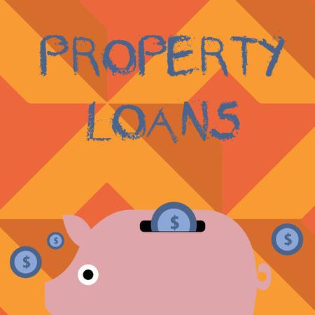 Texte de l'écriture l'écriture de prêts immobiliers. Photo conceptuelle d'un prêt utilisé pour acheter des terres ou des bâtiments et des infrastructures Tirelire colorée et pièces de monnaie avec signe de devise dollar dans la fente