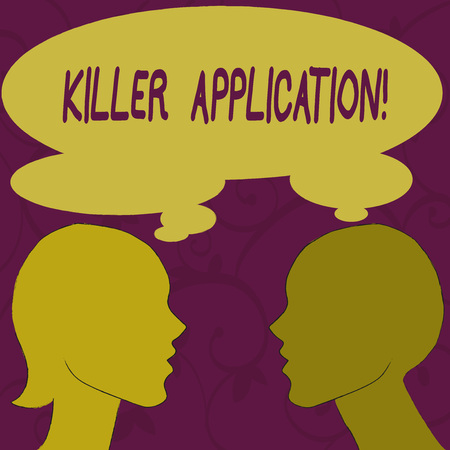 Text sign showing Killer Application. Business photo showcasing virtually indispensable or much superior to rival product Silhouette Sideview Profile Image of Man and Woman with Shared Thought Bubble