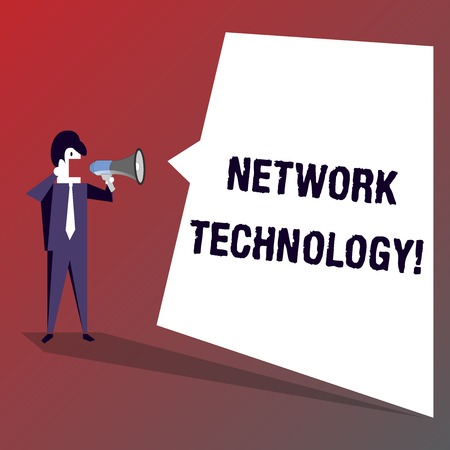 Conceptual hand writing showing Network Technology. Concept meaning transmit data digitally through information systems Businessman Shouting on Megaphone and White Speech Bubble