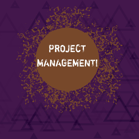 Writing note showing Project Management. Business concept for method of organizing all activities related to a project Disarrayed Jumbled Musical Notes Icon with Colorful Circle