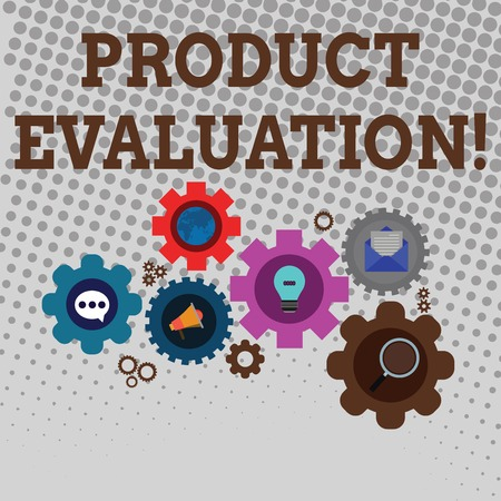 Handwriting text writing Product Evaluation. Conceptual photo viability of the product with respect to market deanalysisd Set of Global Online Social Networking Icons Inside Colorful Cog Wheel Gear