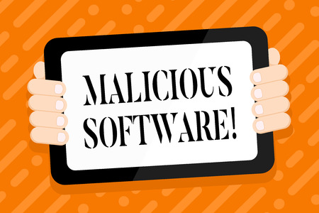 Conceptual hand writing showing Malicious Software. Concept meaning the software that brings harm to a computer system Color Tablet Smartphone with Screen Handheld Back of Gadget