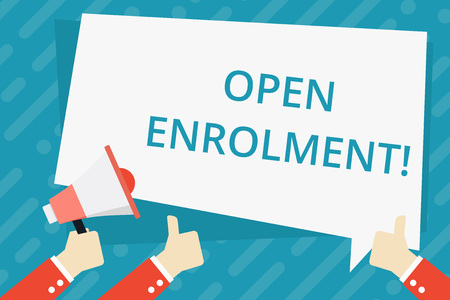 Text sign showing Open Enrolment. Business photo showcasing period during which members can choose an alternate plan Hand Holding Megaphone and Other Two Gesturing Thumbs Up with Text Balloon Imagens