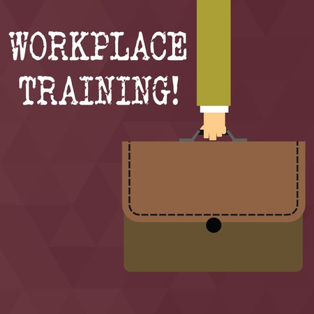 Writing note showing Workplace Training. Business concept for the acquisition of knowledge or skills at workplace Businessman Carrying Colorful Briefcase Portfolio Applique