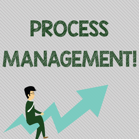 Text sign showing Process Management. Business photo text aligning processes with an organization s is strategic goals Businessman with Eyeglasses Riding Crooked Color Arrow Pointing Going Up Stockfoto