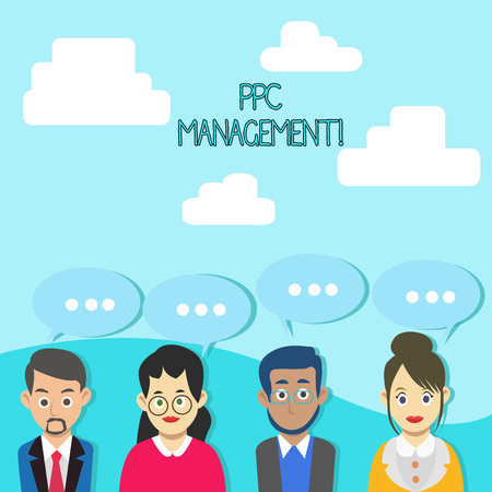 Word writing text Ppc Management. Business photo showcasing process of overseeing and analysisaging a company s is PPC ad spend Group of Business People with Blank Color Chat Speech Bubble with Three Dots