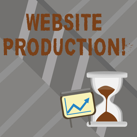 Word writing text Website Production. Business photo showcasing process of creating websites and it s is components Successful Growth Chart with Arrow Going Up and Hourglass with Sand Sliding 免版税图像