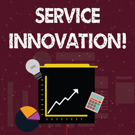 Handwriting text Service Innovation. Conceptual photo changing the way you serve better your customers Investment Icons of Pie and Line Chart with Arrow Going Up, Bulb, Calculator 版權商用圖片