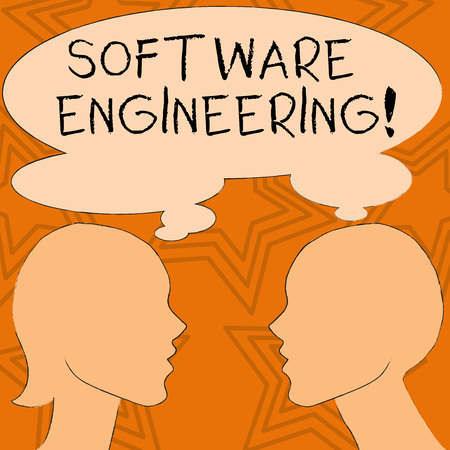 Writing note showing Software Engineering. Business concept for apply engineering to the development of software Silhouette Sideview Profile of Man and Woman Thought Bubble