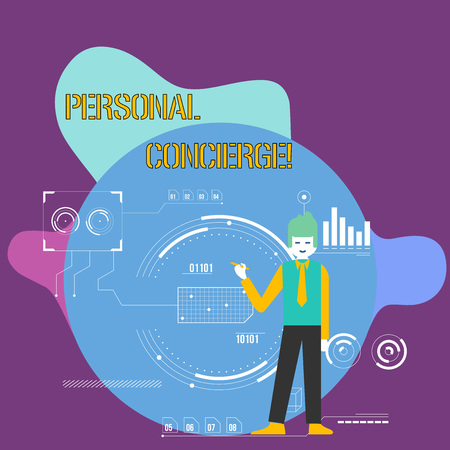 Conceptual hand writing showing Personal Concierge. Concept meaning someone who will make arrangements or run errands Man Holding Pen Pointing to Chart Diagram SEO Process Icons Standard-Bild
