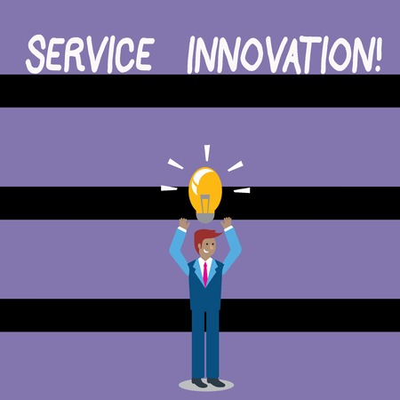 Writing note showing Service Innovation. Business concept for changing the way you serve better your customers Businessman Raising Arms Upward with Lighted Bulb icon above