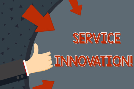 Text sign showing Service Innovation. Business photo text changing the way you serve better your customers Hand Gesturing Thumbs Up and Holding on Blank Space Round Shape with Arrows