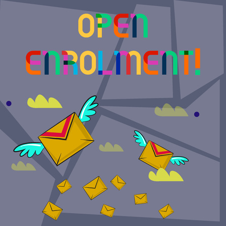 Word writing text Open Enrolment. Business photo showcasing period during which members can choose an alternate plan Many Colorful Airmail Flying Letter Envelopes and Two of Them with Wings