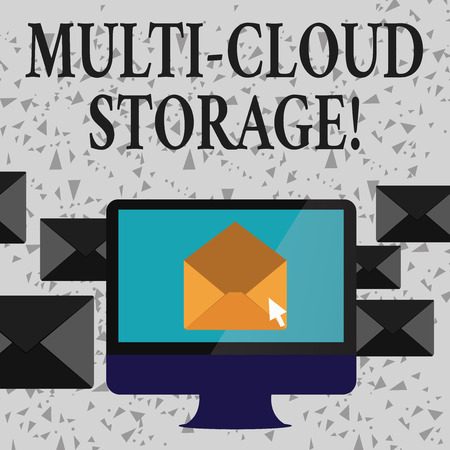 Word writing text Multi Cloud Storage. Business photo showcasing use of multiple cloud computing and storage services Open Color Envelope inside Computer Screen. Letter Casing Surrounds the PC