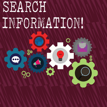 Word writing text Search Information. Business photo showcasing the act or process of looking for someone or something Set of Global Online Social Networking Icons Inside Colorful Cog Wheel Gear