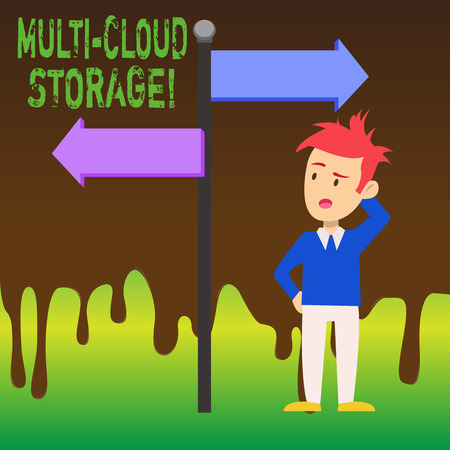 Word writing text Multi Cloud Storage. Business photo showcasing use of multiple cloud computing and storage services Man Confused with the Road Sign Arrow Pointing to Opposite Side Direction