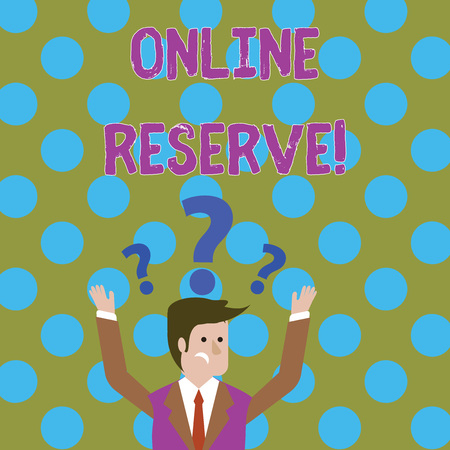 Handwriting text writing Online Reserve. Conceptual photo enables customers to check availability and book online Confused Businessman Raising Both Arms with Question Marks Above his Head