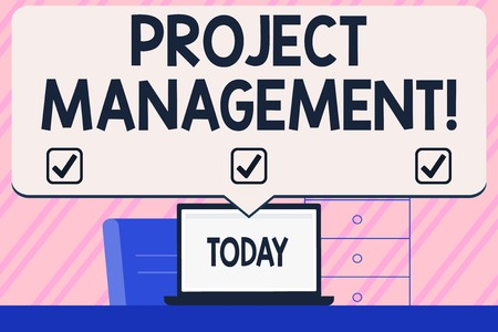 Conceptual hand writing showing Project Management. Concept meaning method of organizing all activities related to a project Blank Huge Speech Bubble Pointing to the White Laptop Screen