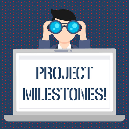Handwriting text Project Milestones. Conceptual photo duration that shows an important achievement in a project Man Holding and Looking into Binocular Behind Open Blank Space Laptop Screen Imagens