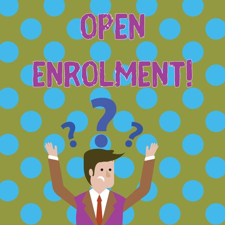 Handwriting text writing Open Enrolment. Conceptual photo period during which members can choose an alternate plan Confused Businessman Raising Both Arms with Question Marks Above his Head Banco de Imagens