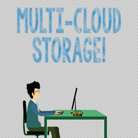 Text sign showing Multi Cloud Storage. Business photo showcasing use of multiple cloud computing and storage services Businessman Sitting Straight on Chair Working on Computer and Books on Table