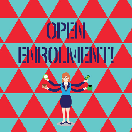 Conceptual hand writing showing Open Enrolment. Concept meaning period during which members can choose an alternate plan Woman with Four Arms Extending Sideways Workers Needed Item