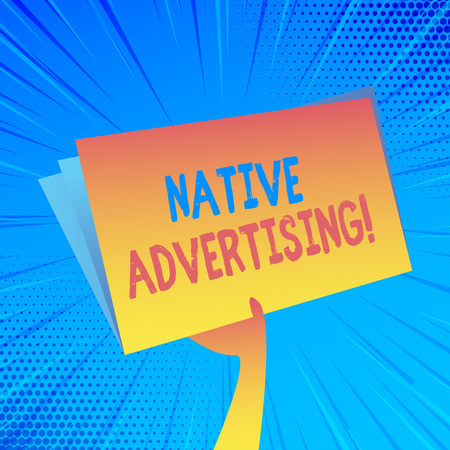 Handwriting text Native Advertising. Conceptual photo paid media where the ad experience follows the usual form Hand Holding and Raising Blank Space Colorful File Folder with Sheet Inside Stockfoto