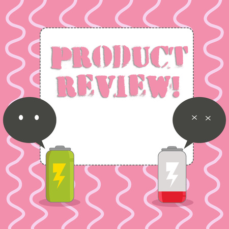 Text sign showing Product Review. Business photo showcasing Customers rate and comment on products they have purchased Fully Charged and Discharged Battery with Two Colorful Emoji Speech Bubble