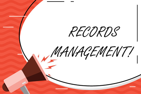 Word writing text Records Management. Business photo showcasing administration of records and documented information Blank White Huge Oval Shape Sticker and Megaphone Shouting with Volume Icon