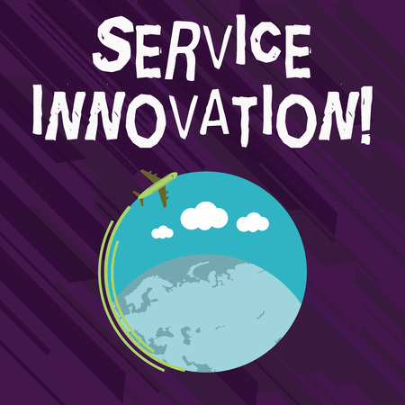 Conceptual hand writing showing Service Innovation. Concept meaning changing the way you serve better your customers Airplane Flying Around Colorful Globe and Blank Text Space