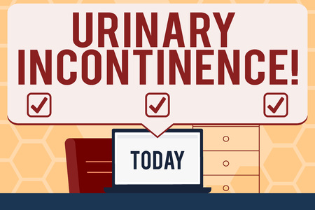Text sign showing Urinary Incontinence. Business photo text uncontrolled leakage of urine Loss of bladder control Blank Huge Speech Bubble Pointing to White Laptop Screen in Workspace Idea Imagens