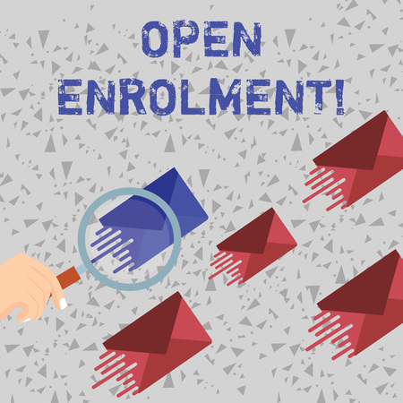 Word writing text Open Enrolment. Business photo showcasing period during which members can choose an alternate plan Magnifying Glass on One Different Color Envelope and others has Same Shade 스톡 콘텐츠