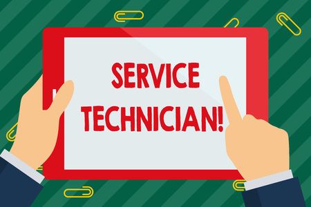 Word writing text Service Technician. Business photo showcasing Managing all on site installation and repair task Businessman Hand Holding, Pointing and Touching Colorful Tablet Blank Screen Stok Fotoğraf
